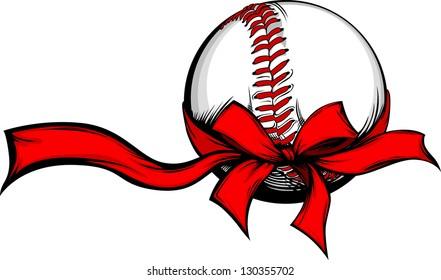 baseball wrapped with red christmas ribbon for winter holidays - Baseball Christmas