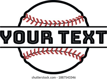 A baseball with your text on it. A baseball split for the team name or any text.  Design for T-shirts, logos, postcards, banners, etc. Vector illustration isolated on a white background.
