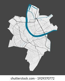 Basel map. Detailed map of Basel city administrative area. Cityscape panorama. Royalty free vector illustration. Outline map with highways, streets, rivers. Tourist decorative street map.