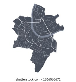 Basel map. Detailed vector map of Basel city administrative area. Cityscape poster metropolitan aria view. Dark land with white streets, roads and avenues. White background.