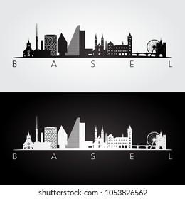 Basel skyline and landmarks silhouette, black and white design, vector illustration.