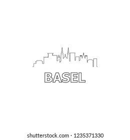 Basel skyline and landmarks silhouette black vector icon. Basel panorama. Switzerland