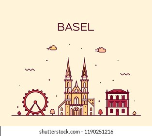 Basel skyline, Switzerland. Trendy vector illustration, linear style