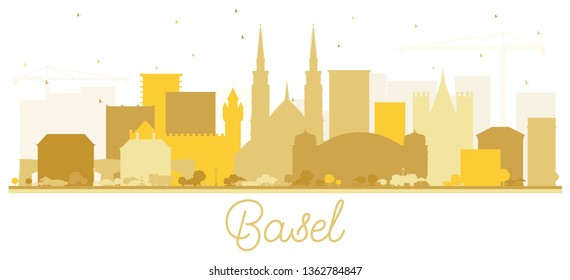 Basel Switzerland City Skyline Silhouette with Golden Buildings Isolated on White. Vector Illustration. Business Travel and Tourism Concept with Historic Architecture. Basel Cityscape with Landmarks.
