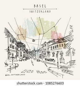 Basel, Switzerland. Road with traffic in old town. Nice historical buildings. Hand drawing in retro style. Travel sketch. Vintage touristic postcard, poster or book illustration in vector