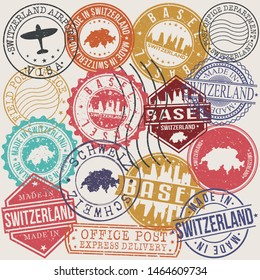 Basel Switzerland Set of Stamps. Travel Stamp. Made In Product. Design Seals Old Style Insignia.