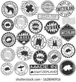 Basel Switzerland Stamp. Vector Art Postal. Passport Travel Design. Travel and Business Set.