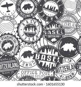 Basel Switzerland Stamps Background. City Stamp Vector Art. Postal Passport Travel. Design Set Pattern.
