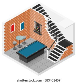 Basement room in a private house converted into a billiard room isometric icon set vector graphic illustration