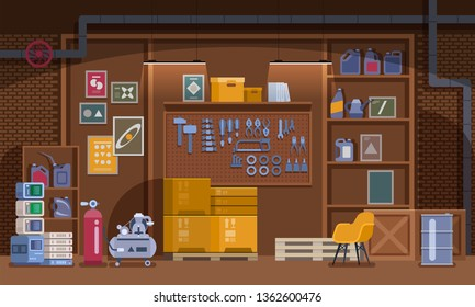 Basement Workshop vector Illustration. Garage or Cellar Indoor Storehouse with Mechanic Equipment Set. Stockroom or Carpentry Workplace with Shelves, Table, Furniture. Storage Interior.