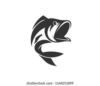 bash fish jump art logo