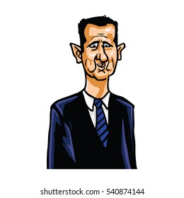Bashar al-Assad Cartoon Caricature Portrait Vector Illustration. December 22, 2016.