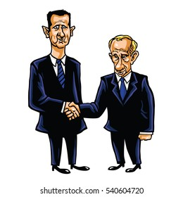 Bashar Al-Assad With Vladimir Putin Cartoon Vector Illustration. December 21, 2016.