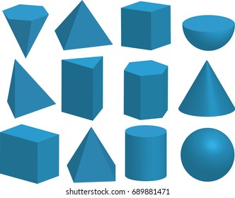 Basic 3d geometric shapes. Cube, prism, pyramid, tetrahedron, polyhedron, sphere, cylinder, cone, Solids isolated on a white background.