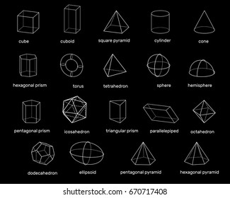 Basic 3d geometric shapes. Isolated on black background. Vector outline illustration. Dimetric projection.