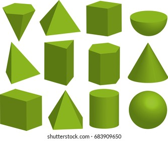 Basic 3d geometric shapes. Geometric solids. Pyramid, prism, polyhedron, cube, cylinder, cone, sphere, hemisphere. Isolated on a white background.