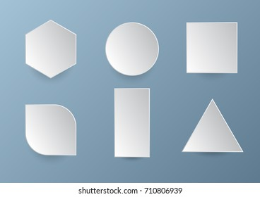 Basic 3D paper style geometric shapes. Blank vector design elements.
