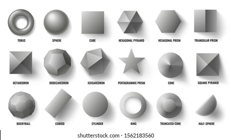 Basic 3d shapes top view. Realistic pyramid shape, geometric polygon figures and hexagon symbol concept. Math geometry prism, sphere and pyramid forms. Isolated vector illustration signs set