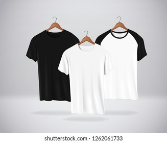 Basic and Baseball short sleeve T-Shirts Mock-up clothes set hanging isolated on wall. Front side view for your design or logo.