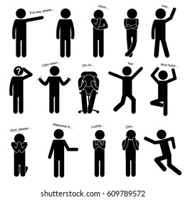 Basic Body Language Posture. Stick Figure Pictogram Icon