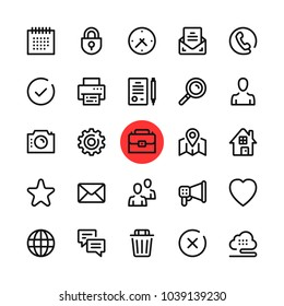 Basic business, marketing, office line icons set. Modern graphic design concepts, simple outline elements collection. 32x32 px. Pixel perfect. Vector line icons
