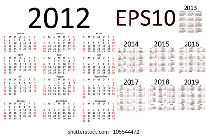 basic 2013 calendar 6 x 2 eps 10 stock vector royalty free
