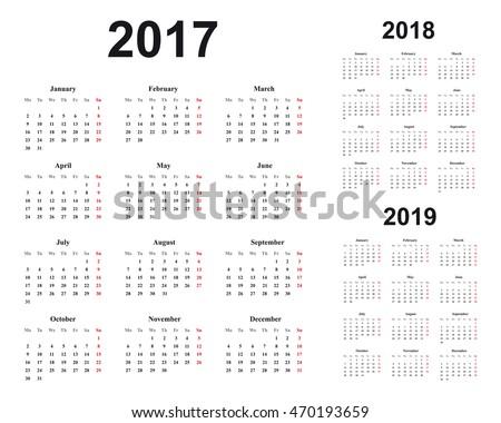 basic calendar design years 2017 2018 stock vector royalty free