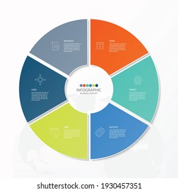 Basic circle infographic template with 6 steps, process or options, process chart, Used for process diagram, presentations, workflow layout, flow chart, infograph. Vector eps10 illustration.