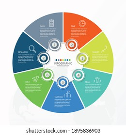 Basic circle infographic template with 7 steps, process or options, process chart, Used for process diagram, presentations, workflow layout, flow chart, infograph. Vector eps10 illustration.
