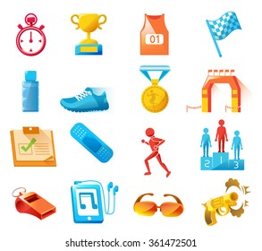 Basic Color full 16 icons of running Sports. Marathon event.