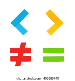 basic colorful mathematical symbols equal greater than