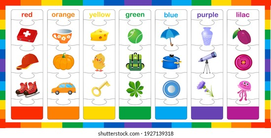 Basic colors. Match by color. Puzzle for kids. Matching game, education game for children. Worksheet for preschoolers.