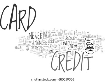 BASIC CREDIT CARD SAFETY TIPS TEXT WORD CLOUD CONCEPT