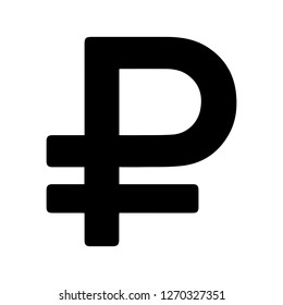 Basic Currency icon symbols sign : Russian Ruble Rub vector illustration in black and white.