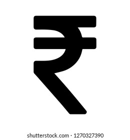 Basic Currency icon symbols sign : Indian Rupee INR vector illustration in black and white.