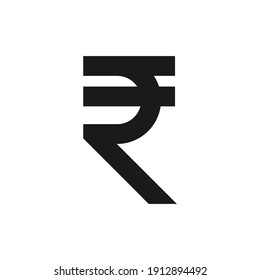 Basic Currency icon symbols sign, Indian Rupee INR vector illustration in black and white. Simple style and isolated on a blank background.