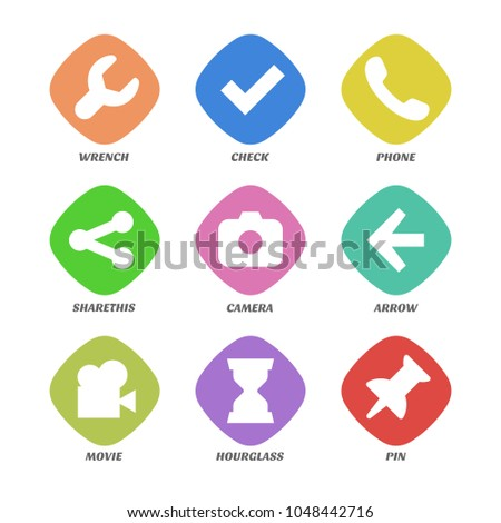 basic design icons set simple design stock vector royalty free