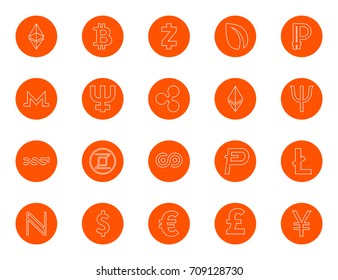Basic digital currency cries and world currencies, a set of round line icons, color change in one click, flat style vector