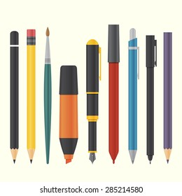 basic drawing and writing tool set vector illustration