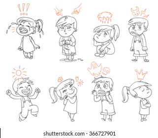 Basic emotions. Mad, Sad, Glad, Scared, Love. Funny cartoon character. Vector illustration. Isolated on white background. Coloring book