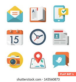 Basic Flat icon set for Web and Mobile Application. News, communications.
