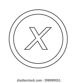 Basic font letter x icon Illustration design