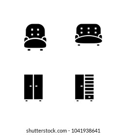 492bd9ce3f6 Basic Furniture icon set in thin line style. Set icon EPS 10 vector format.
