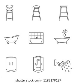 Basic Furniture thin line icon set in minimalist style. Black line sign on white background. bar stool, shower cabin, bath and other