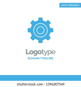 Basic, General, Gear, Wheel Blue Solid Logo Template. Place for Tagline