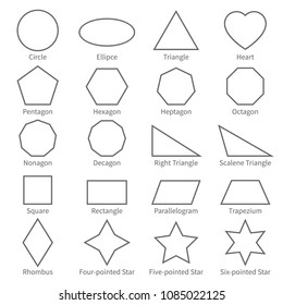 Basic geometric outline flat shapes. Educational geometry vector diagram for kids. Vector square and rectangle, ellipse and triangle illustration