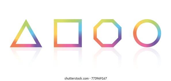basic geometric shape with color rainbow spectrum
