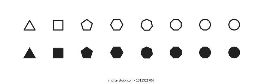 Basic geometric shape, simple icon set. Octagon, hexagon, pentagon, decagon, triagle symbol in vector flat style.