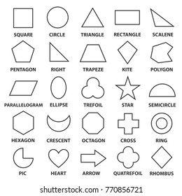 Basic geometric shapes. Advance mathematical concepts for algebra and geometry, representation of a square, circle, triangle, diamond. Vector line shapes illustration isolated on white background.