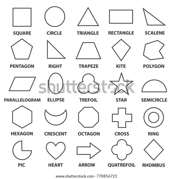 Grundlegende Geometrische Formen Erweiterte Mathematische Konzepte Für Algebra Und Geometrie Darstellung Eines Quadrats Kreis Dreieck Diamant Vektorgrafik Formen Illustration Einzeln Auf Weißem Hintergrund